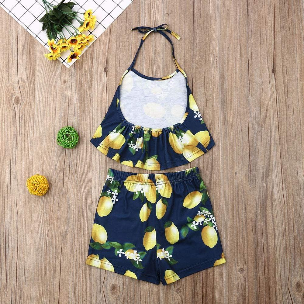 2PCS Newborn Baby Girl Halter Crop Top Full of Lemon Shorts Summer Clothes Set