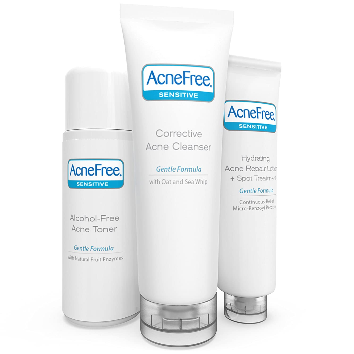 AcneFree 3 Step Acne Treatment Kit - Salicylic Acid Acne Face Wash and Alcohol-Free Toner with Benzoyl Peroxide Lotion - Anti Acne Solution for Teenagers and Adults - For Sensitive Skin 301871612034