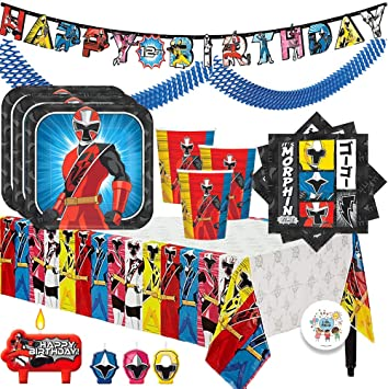 The Ultimate Power Rangers Ninja Steel Birthday Party Supplies Pack For 16 With Plates, Cups, Napkins, Tablecover, Candles, Garland, Add An Age ...