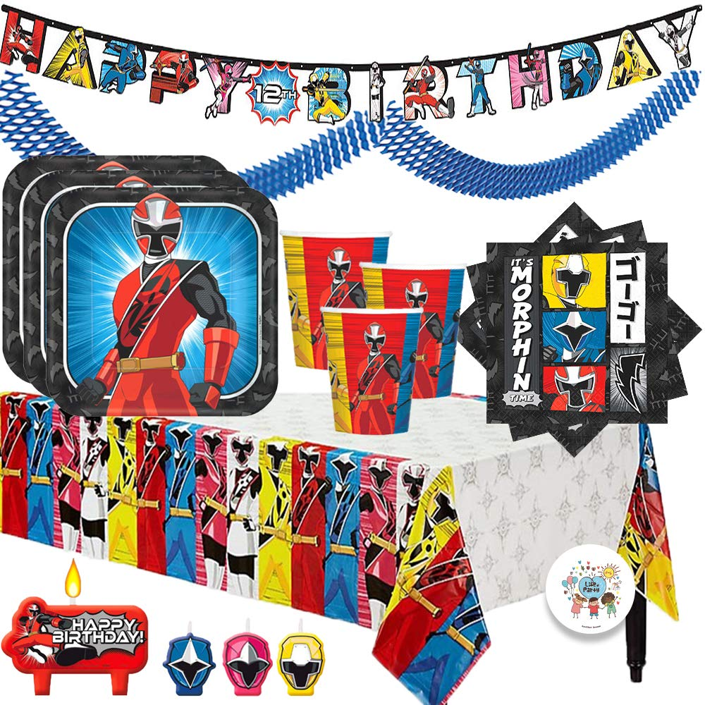 The Ultimate Power Rangers Ninja Steel Birthday Party Supplies Pack For 16 With Plates, Cups, Napkins, Tablecover, Candles, Garland, Add An Age Birthday Banner, and Exclusive Pin By Another Dream by Another Dream (Image #1)