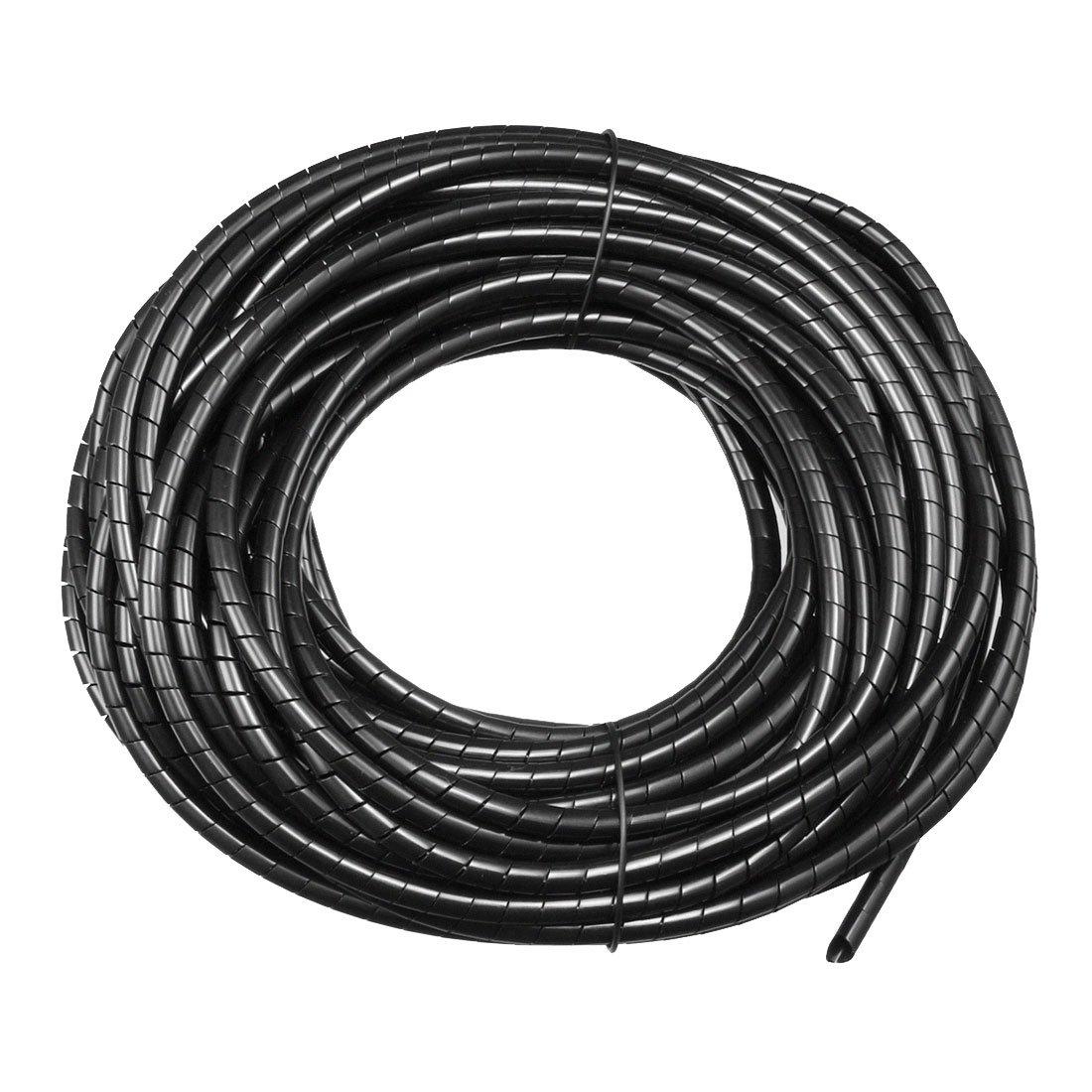 sourcing map 30mm Tube Flexible c/âble spirale enveloppant g/érer ordinateur noir cordon 2M