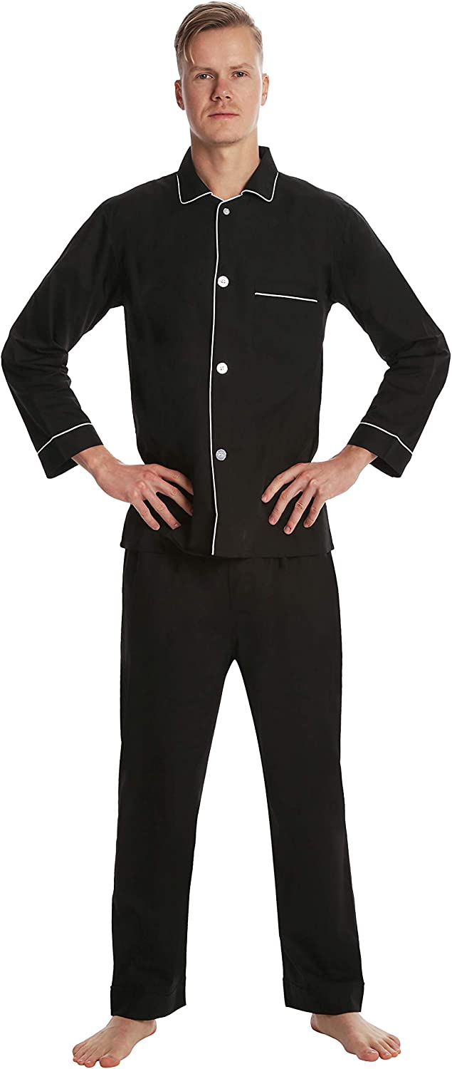 Solid Lightweight Botton Down Pajamas for Men EVERDREAM Men/'s Pajama Set
