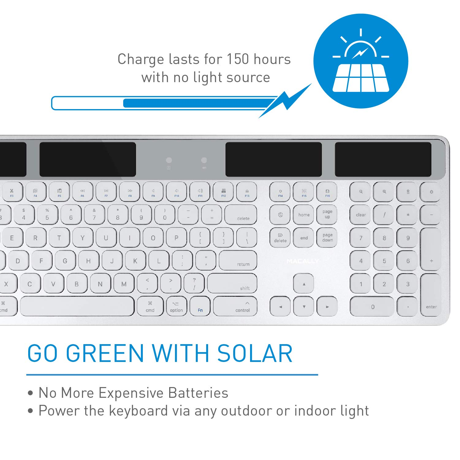 Macally Wireless Solar Keyboard for Mac Mini/Pro, iMac Desktop Computers & Apple MacBook Pro/Air Laptops | 2.4 Ghz RF USB Dongle | Caps Lock/Battery Indicators - Silver Aluminum, Gray by Macally (Image #1)