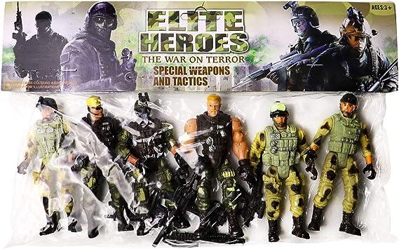 YIJIAOYUN 6 Piezas Gran Figura de Acción Soldados del ejército de Juguete con Arma / Figuras Militares Conjuntos de Juegos: Amazon.es: Juguetes y juegos