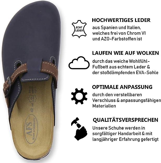 AFS-Schuhe 3900 Hausschuhe Herren aus Leder I Clogs Pantoffeln mit Fu/ßbett I Made in Germany