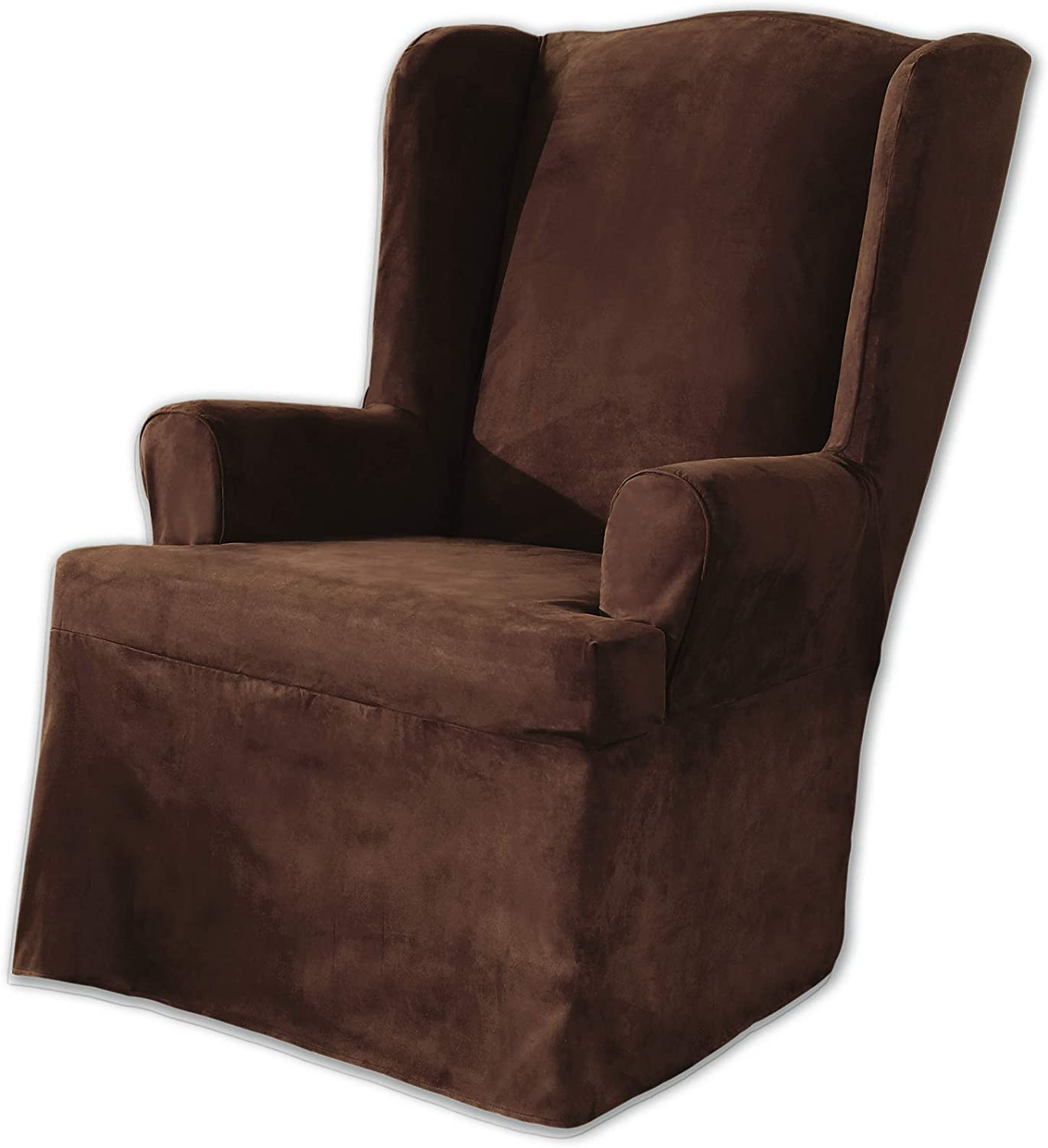 Sure Fit Soft Suede T-Cushion Wing Chair One Piece Slipcover, Relaxed Fit, Polyester, Machine Washable, Chocolate Color