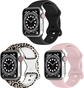 RARF 3-Pack Bands Compatible with Apple Watch 38mm 40mm 42mm 44mm for Women Men, Soft Silicone Sport Replacement Strap Compatible with iWatch SE Series 6/5/4/3/2/1