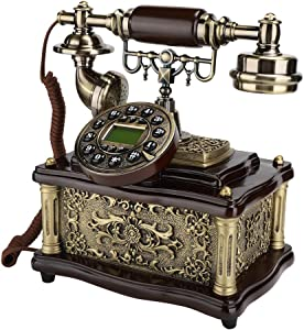 Sanpyl Retro Landline Telephone, Vintage Desktop Phone European Style Phone with Caller ID Display for Home/Hotel/Office Idea Gift for Friends
