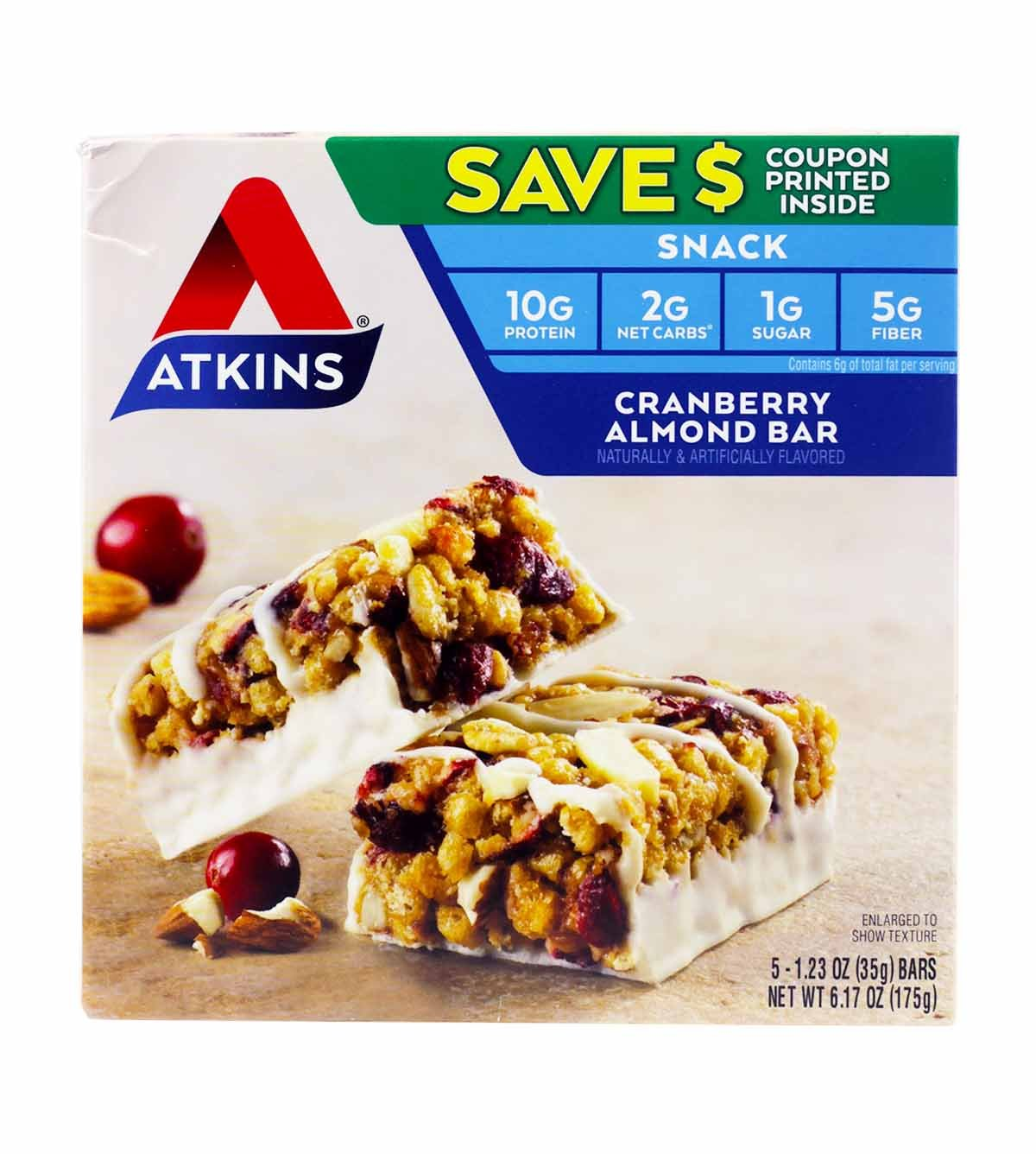 Atkins Cranberry Almond Bar 3 Boxes of 5 Bars (15 total bars) by Atkins