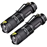 Tactical LED Flashlight, RockBirds 7w Mini Led Flashlight Small Pocket Torch Adjustable Focus Zoom Light Lamp, 3 Light Modes,Water Resistant for Camping (2 Pack)