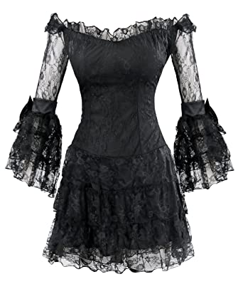 d9c7204ea9f16 Killreal Women s Sexy Floral Lace Off-Shoulder Gothic Punk Mini Dress with  Trumpet Sleeves Black