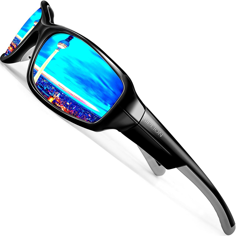 SIPLION Hombre Gafas De Sol UV Polarizado Lente TR Superlight Marco