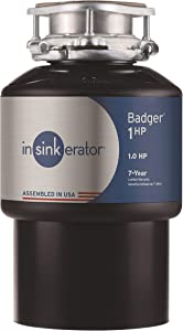 InSinkErator Garbage Disposal, Badger 1 HP Continuous Feed, Black