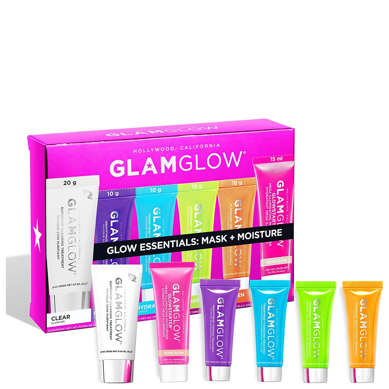 GLAMGLOW Glow Essentials Mask Moisture Travel Set – SUPERMUD 0.7 oz , GLOWSTARTER NUDE 0.5 oz , GRAVITYMUD 0.35 oz , THRISTYMUD 0.35 oz , POWERMUD 0.35 oz FLASHMUD 0.35 oz