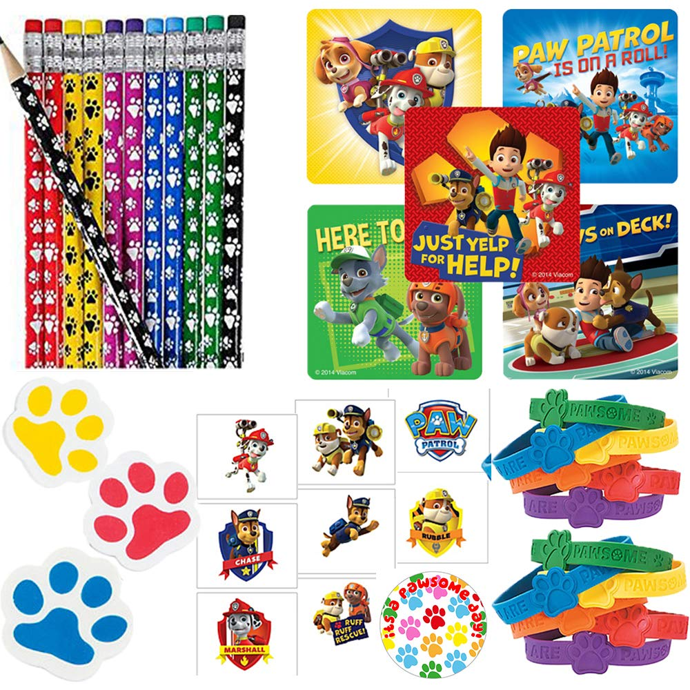 Paw Patrol Party Favor Pack For 24Perfect to Fill Your Goodie Bags With Paw Pencils, Paw Erasers, Rubber Bracelets, Paw Patrol Stickers, Tattoos, and Exclusive Paw Birthday Pin By Another Dream!