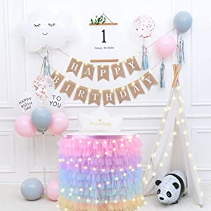 9ft Table Cloth, Rainbow Table Skirt with 10cm String Lights for Rectangle or Round Tables, 110pcs Christmas Snowflake Stickers Gold, 13ft Glitter Star Dots Paper Garland Banner Hanging Decoration