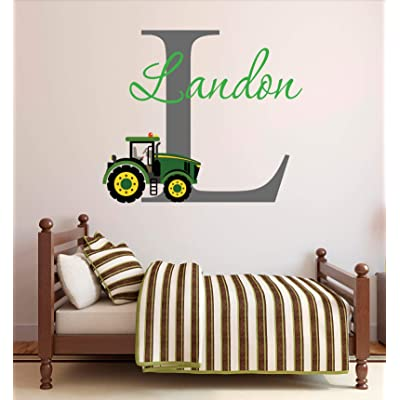 Tiukiu Personalized Name Wall Decal Green Farm Tractor Wall Decal Tractor Baby Boy Nursery Wall Decor Medium Size: Kitchen & Dining