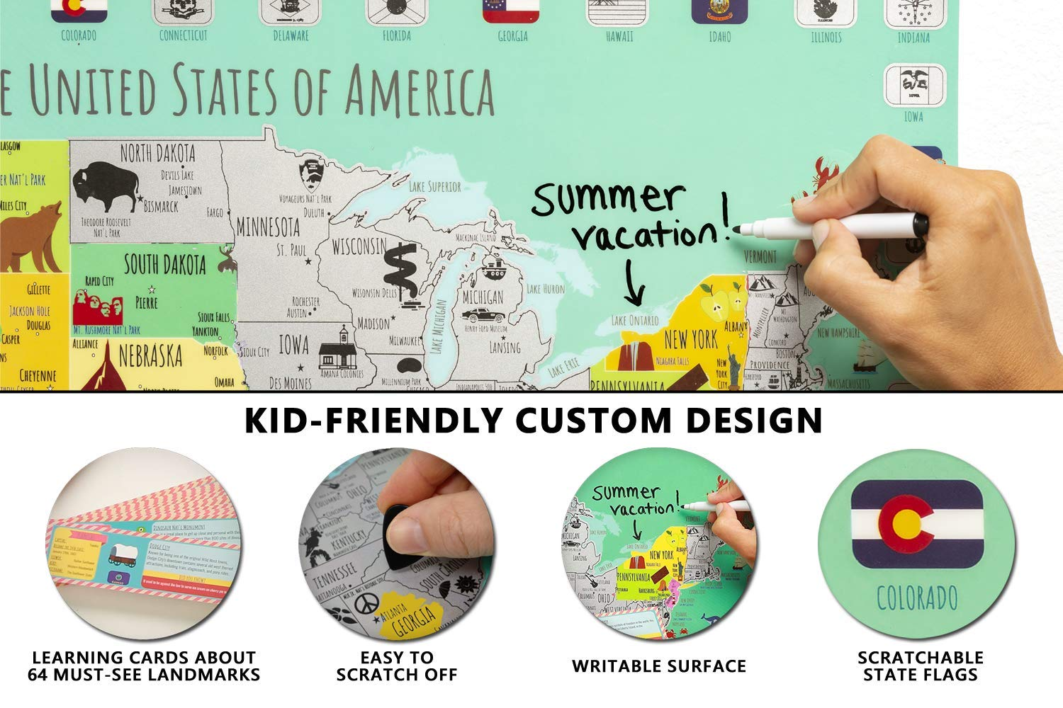 Kids USA Scratch Off Map Poster for Travel Just $9 w/code