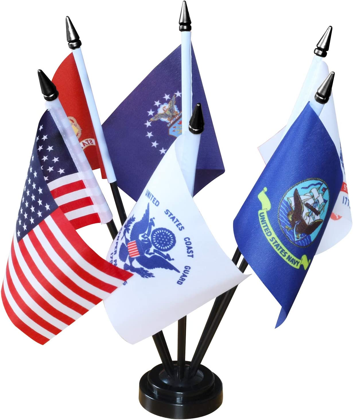 "ANLEY USA Armed Service Desk Flags Set - 6 X 4 inches Miniature American Military Sectors Desktop Flag with 11"" Solid Plastic Pole - Vivid Color & Fade Resistant"