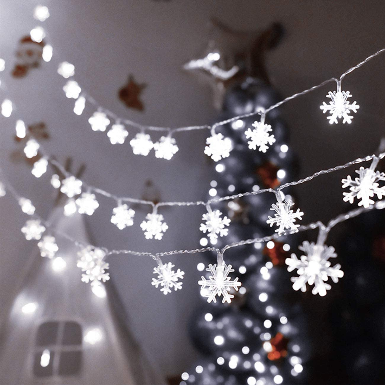 KNONEW Christmas Lights 100 LED 33ft Snowflake String Lights with 8 Lighting Modes, Fairy Lights for Xmas Garden Patio Bedroom Party Decor Indoor Outdoor Celebration Lighting Decorations (Cool White)