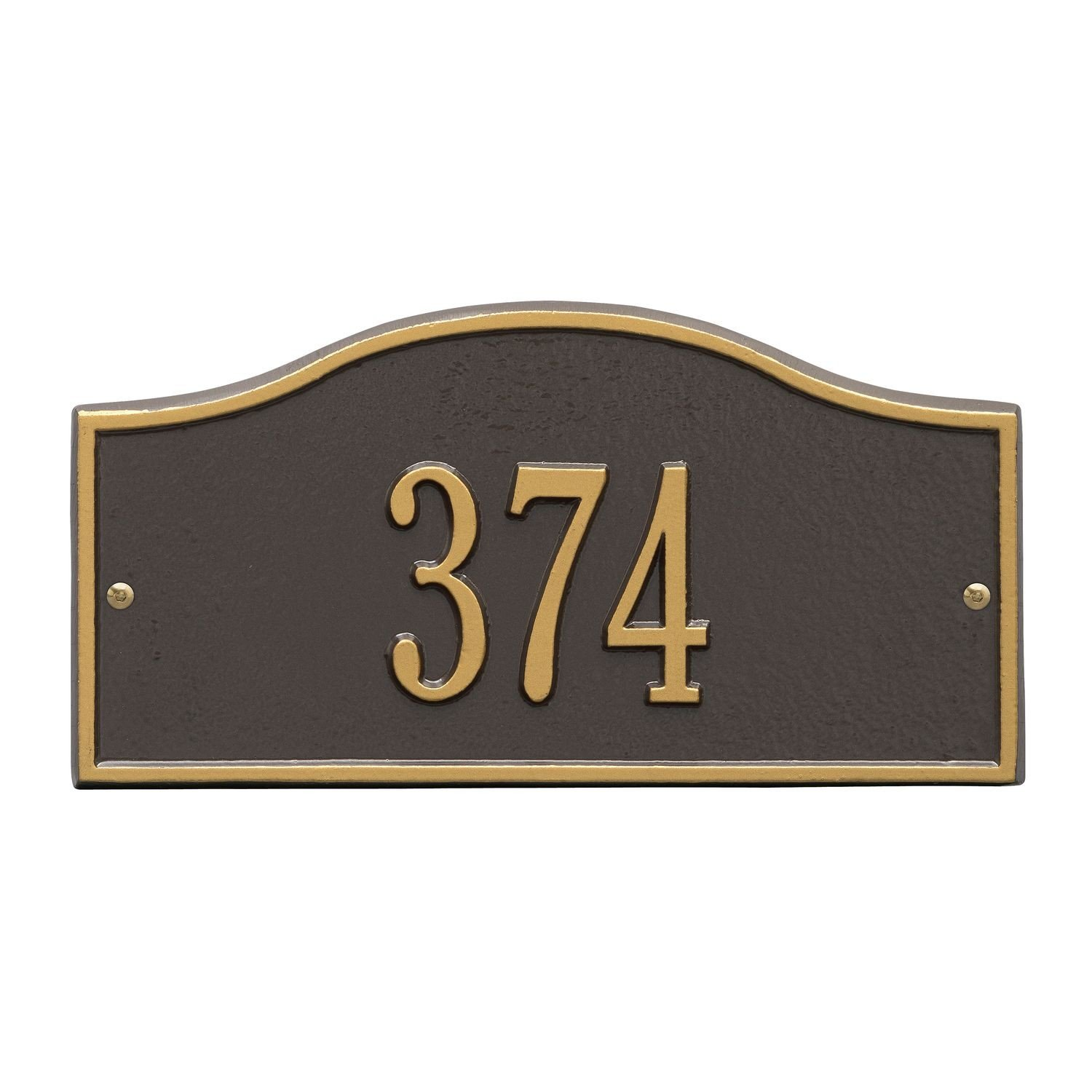 Whitehall Personalized Cast Metal Address Plaque - Small Rolling Hills Custom House Number Sign - 12'' x 6'' - Allows Special Characters - Bronze/Gold