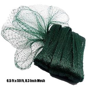 Poyee Garden Netting- 6.5 Ft x 50 Ft, 0.3 Inch Mesh Green Garden Net Provide Better Protection for Vegetables and Fruit Trees