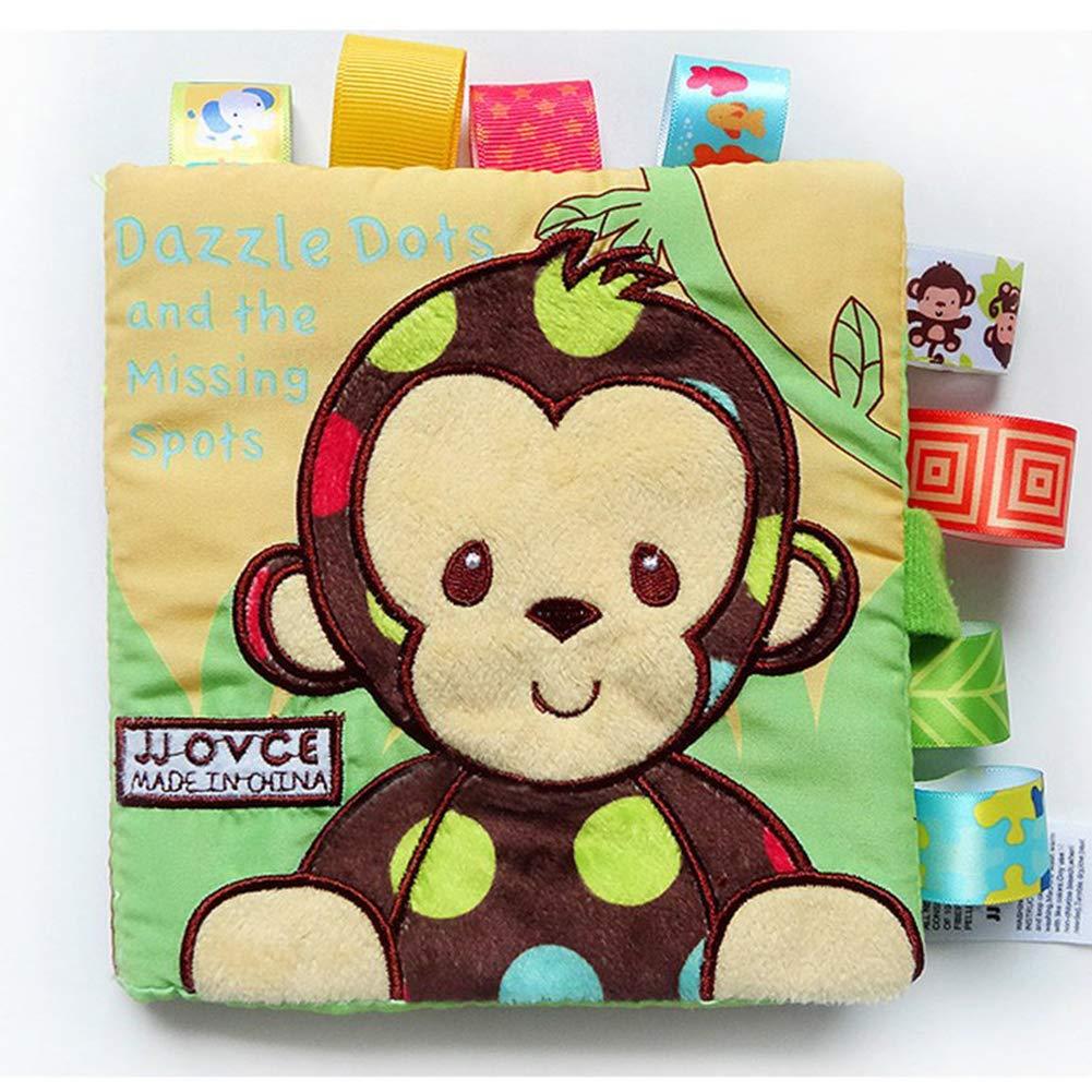 Libro del beb/é Los libros de pa/ño suave no t/óxico Tela educaci/ón temprana juguetes de actividad de la arruga de tela para el ni/ño Los beb/és y los ni/ños 1pc del mono