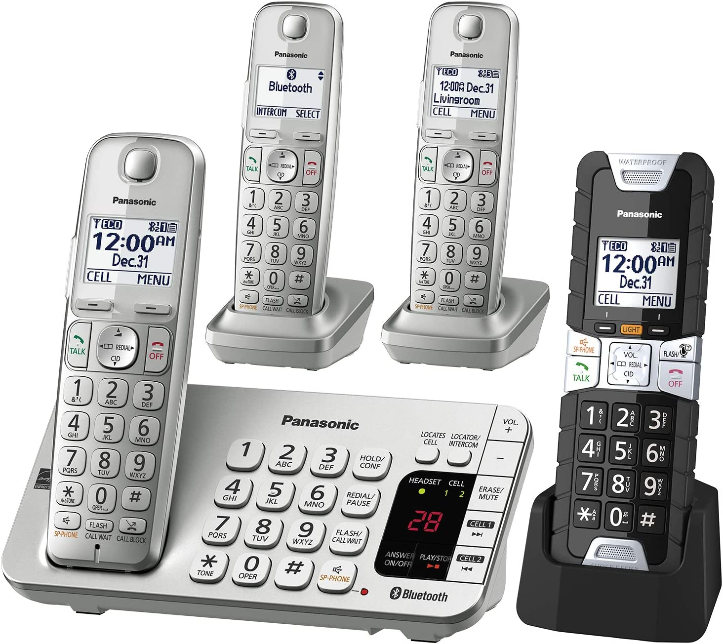 Panasonic KX-TGE484S2 DECT 6.0 4 Handset Landline Telephone Silver