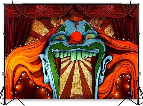 Amazon Com Funnytree 7x5ft Horror Circus Theme Halloween Backdrop For Photography Giant Evil Clown Hallomas Birthday Party Background Scary Grove Vampire Baby Cake Table Decor Banner Photobooth Studio Props Camera