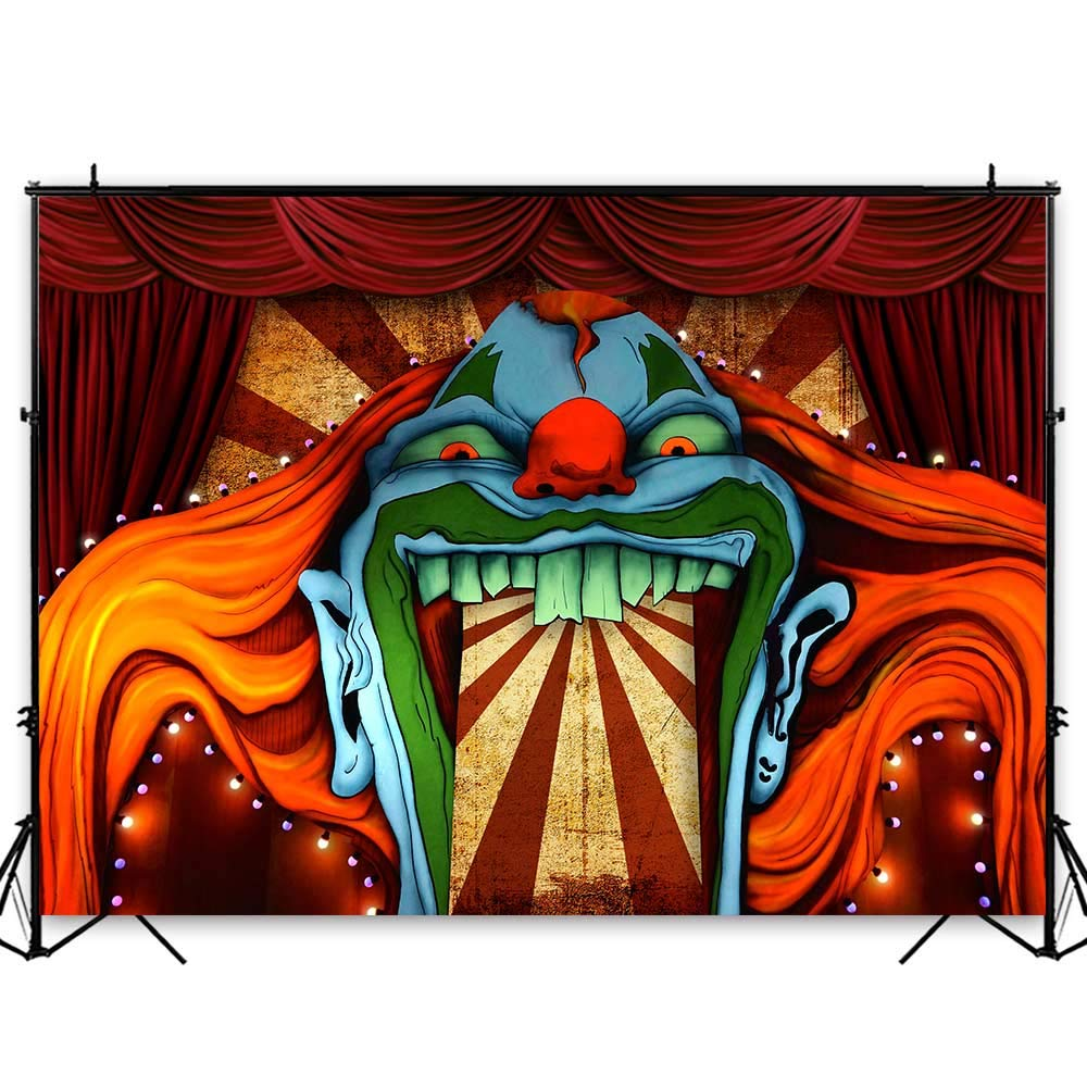 Funnytree 7x5ft Horror Circus Theme Halloween Backdrop for Photography Giant Evil Clown Hallomas Birthday Party Background Scary Grove Vampire Baby Cake Table Decor Banner Photobooth Studio Props by Funnytree