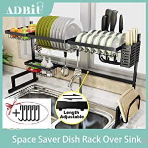 "Dish Rack Over Sink (32.5''≤ Sink Size ≤ 41"") Adbiu Dish Drying Rack Kitchen Stainless Steel Over The Sink Shelf Storage Rack (Black, Adjustable Length)"