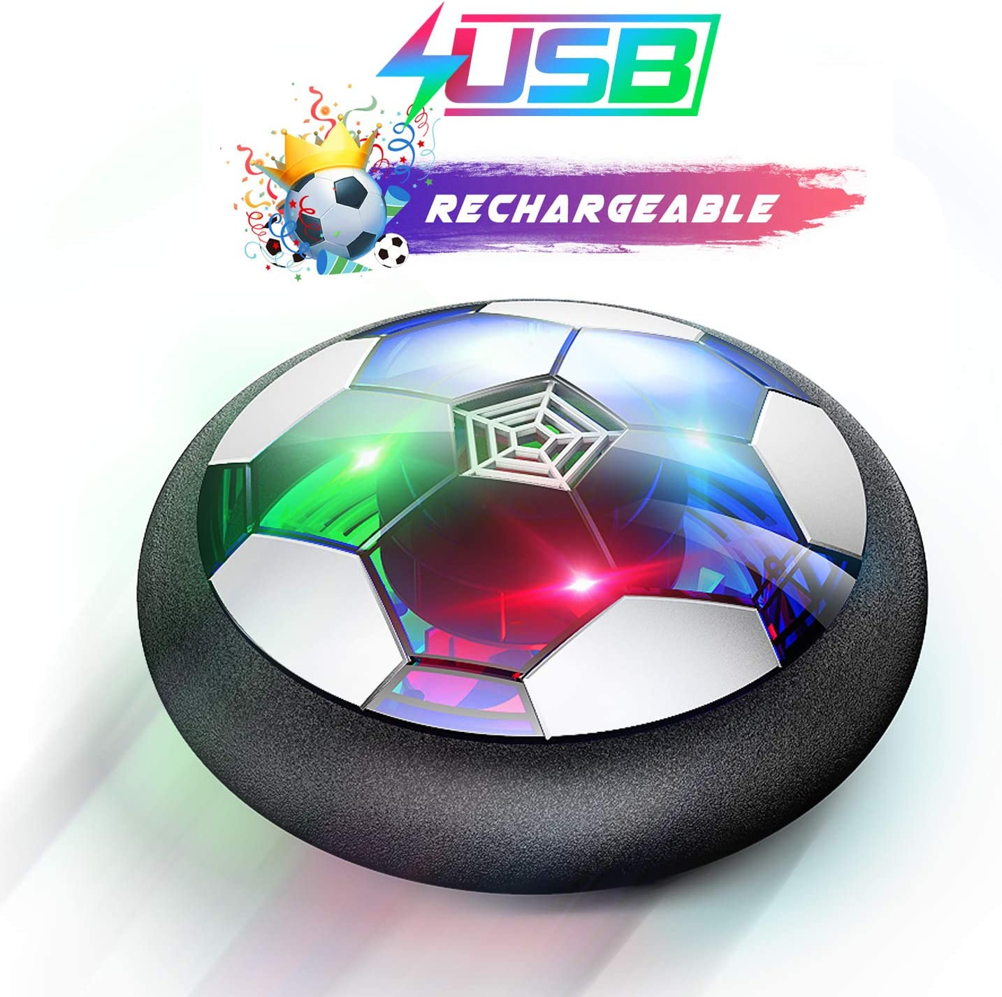 WisToyz Kids Toys Hover Soccer Ball Rechargeable Air Soccer, Soccer Ball Indoor Floating Soccer with LED Light and Foam Bumper, Perfect Time Killer for Boys, Girls, Toddler (No AA Batteries Needed): Toys & Games