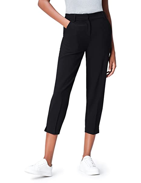 FIND Tapered Crop Pantalones para Mujer, Negro (Black), 38 (Talla del