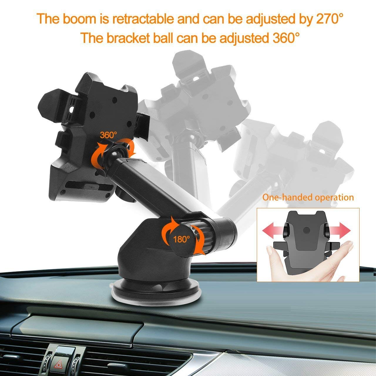 Phone Holder for Car Black MOTEK Universal Long Neck One Touch Car Mount Holder for All iPhones and More Phones