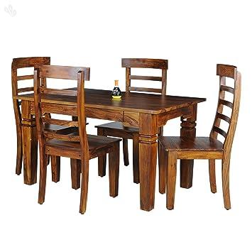 Royal Oak Emerald 4 Seater Dining Table Set Honey Finish Brown