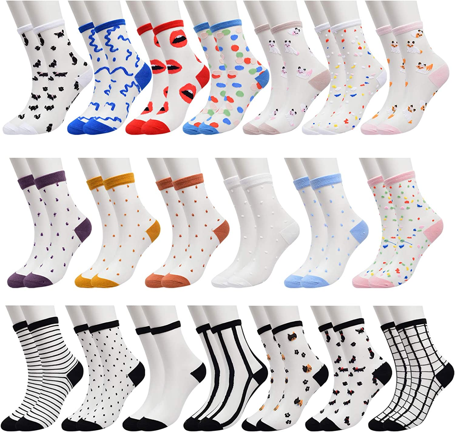 Super Cute Fishnet Mesh Ankle Socks Lace Big Bow Black White Red Grey Floral