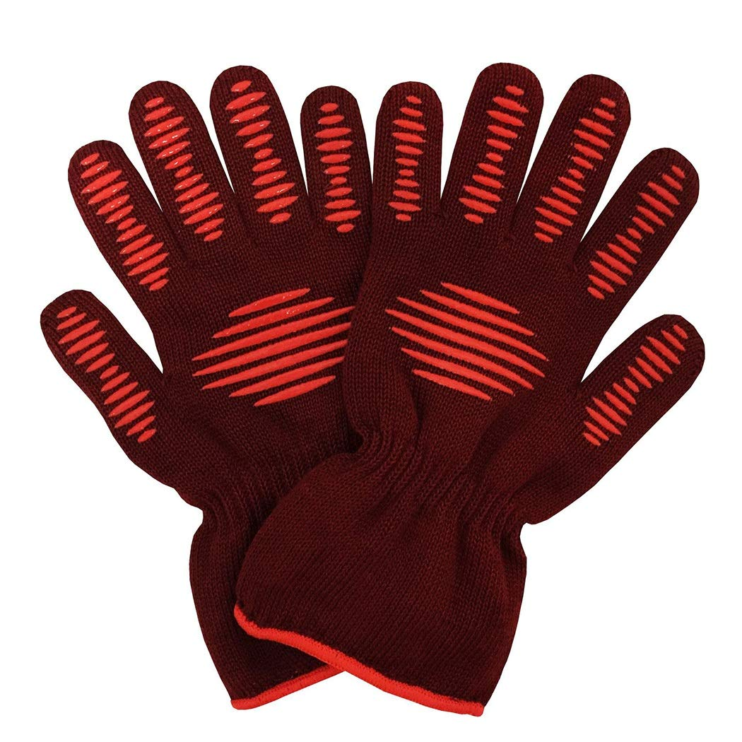 Extreme Heat-Resistant Barbecue Gloves (500 ° C) Food Grade Silicone Non-Slip Oven Gloves, Suitable for Kitchen Barbecue, Rose Red (a Pair) (Color : Rose red, Size : One Size)