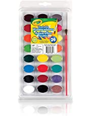 Crayola 24 Washable Watercolours, School, Craft, Painting and Art Supplies, Kids, Ages 3,4, 5, 6 and Up, Back to school, School supplies, Arts and Crafts,  Gifting
