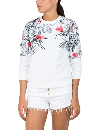 Replay W3971b.000.22132, Sweat-Shirt Femme, (White 1), Large