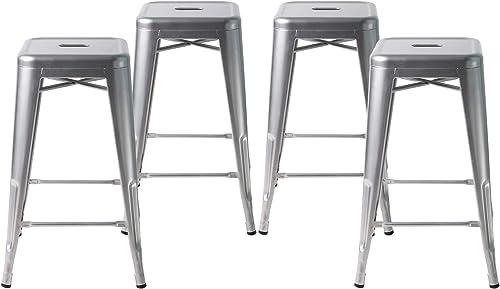 Buschman Metal Bar Stools 24 Counter Height, Indoor Outdoor and Stackable, Set of 4 Grey
