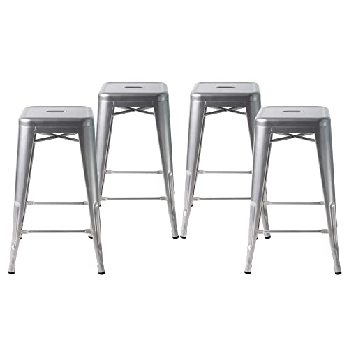 Buschman Metal Bar Stools 24 Counter Height, Indoor Outdoor and Stackable, Set of 4 Grey