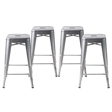 Admirable Buschman Metal Bar Stools 24 Counter Height Indoor Outdoor And Stackable Set Of 4 Grey Ncnpc Chair Design For Home Ncnpcorg