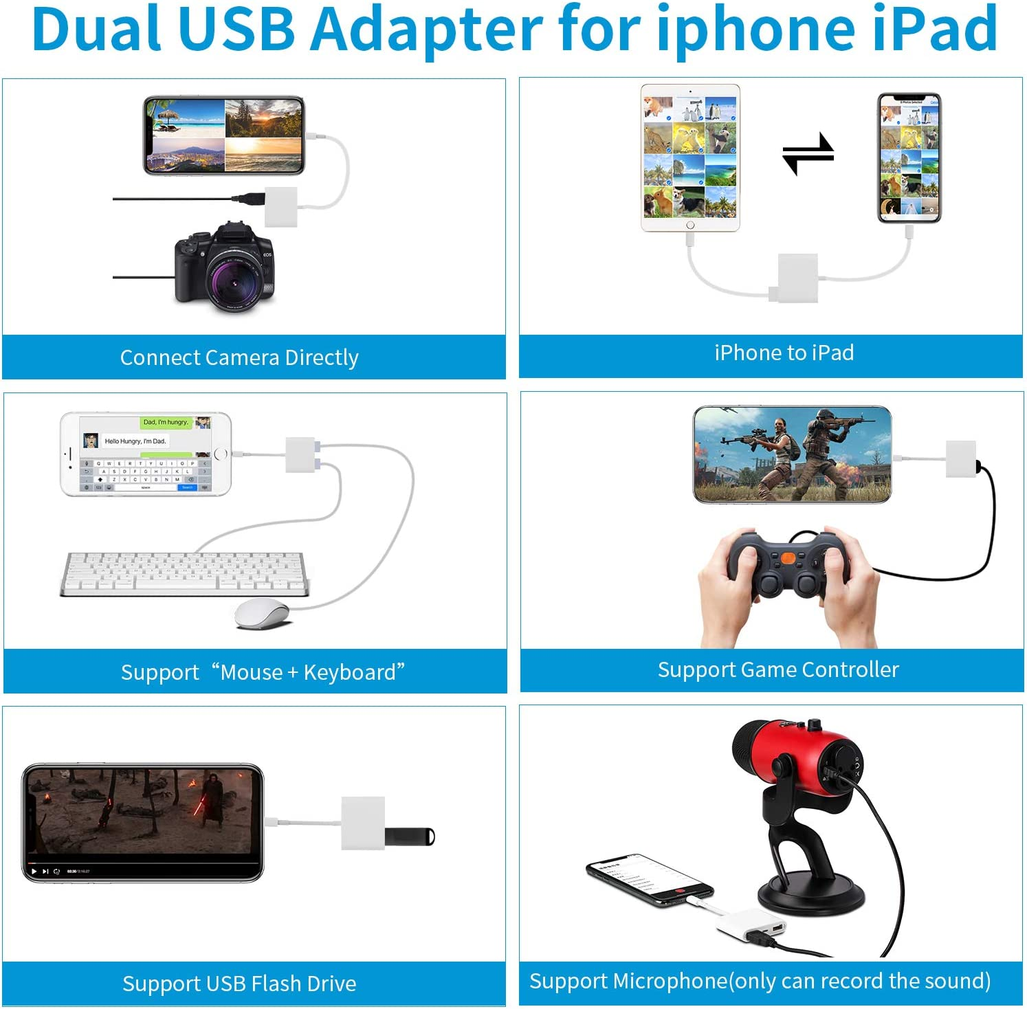 White Mouse Support iOS 9.2 to 13+ Keyboard USB Flash Drive Upto 500mAh Card Reader 3 in 1 USB Female OTG Cable Compatible with iPhone//iPad VELLEE Dual USB Camera Adapter with Charging Port