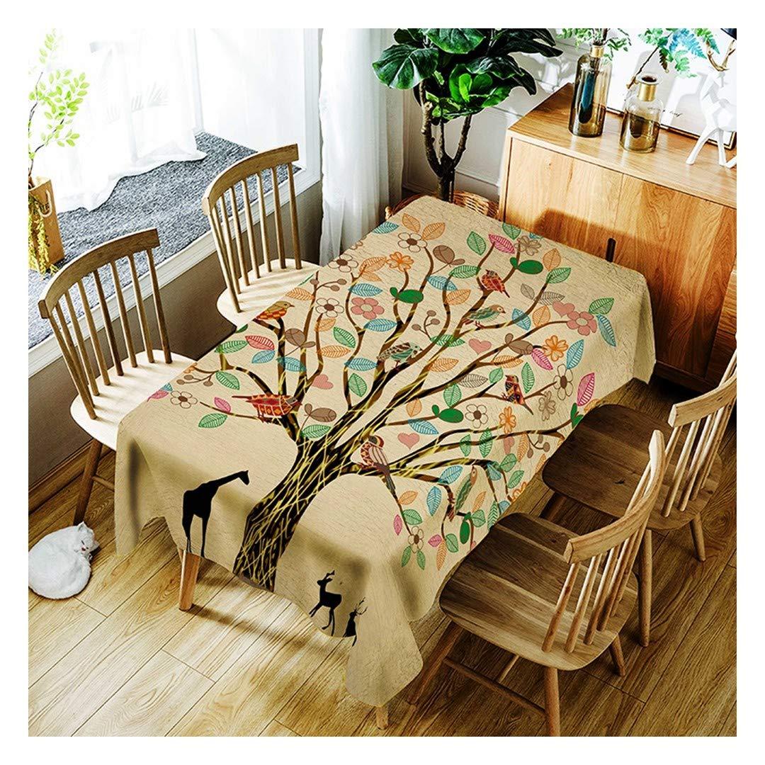 ZHAOXIANGXIANG Lavable Minimalista Elegante Table Estera Creative Elk árbol Patrón De Aves Decoracion Un Mantel,140Cmtimes;280Cm