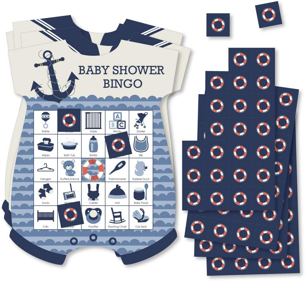 Big Dot of Happiness Ahoy - Nautical - Picture Bingo Cards and Markers - Baby Shower Shaped Bingo Game - Set of 18