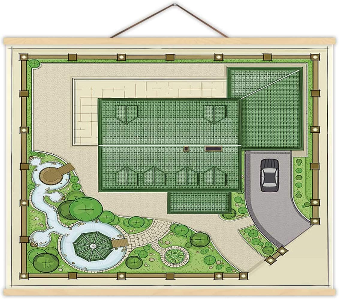 House Plan with a Beautiful Garden,Wall Hanging Ponds and Backyard - Illustration Ornamental Garden for Bedroom 12''W x 8''H
