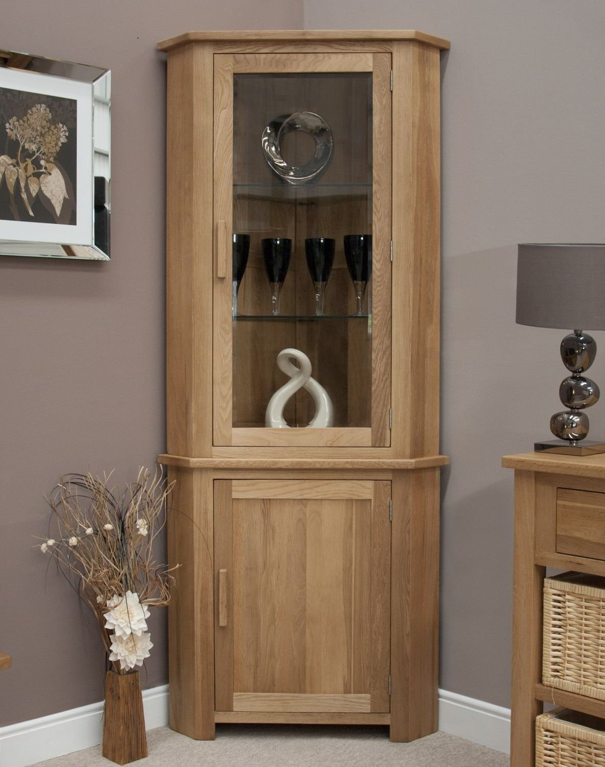 Eton Solid Oak Furniture Corner Display Cabinet Unit With Light: Amazon.co. Uk: Kitchen U0026 Home Part 53