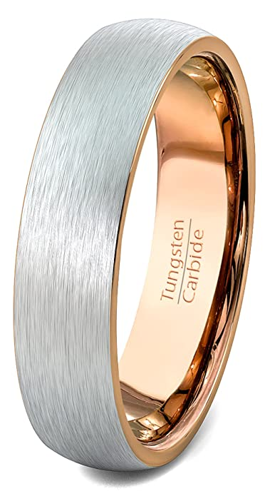 Duke Collections Mens Wedding Band Tungsten Ring 6mm Brushed Rose ...