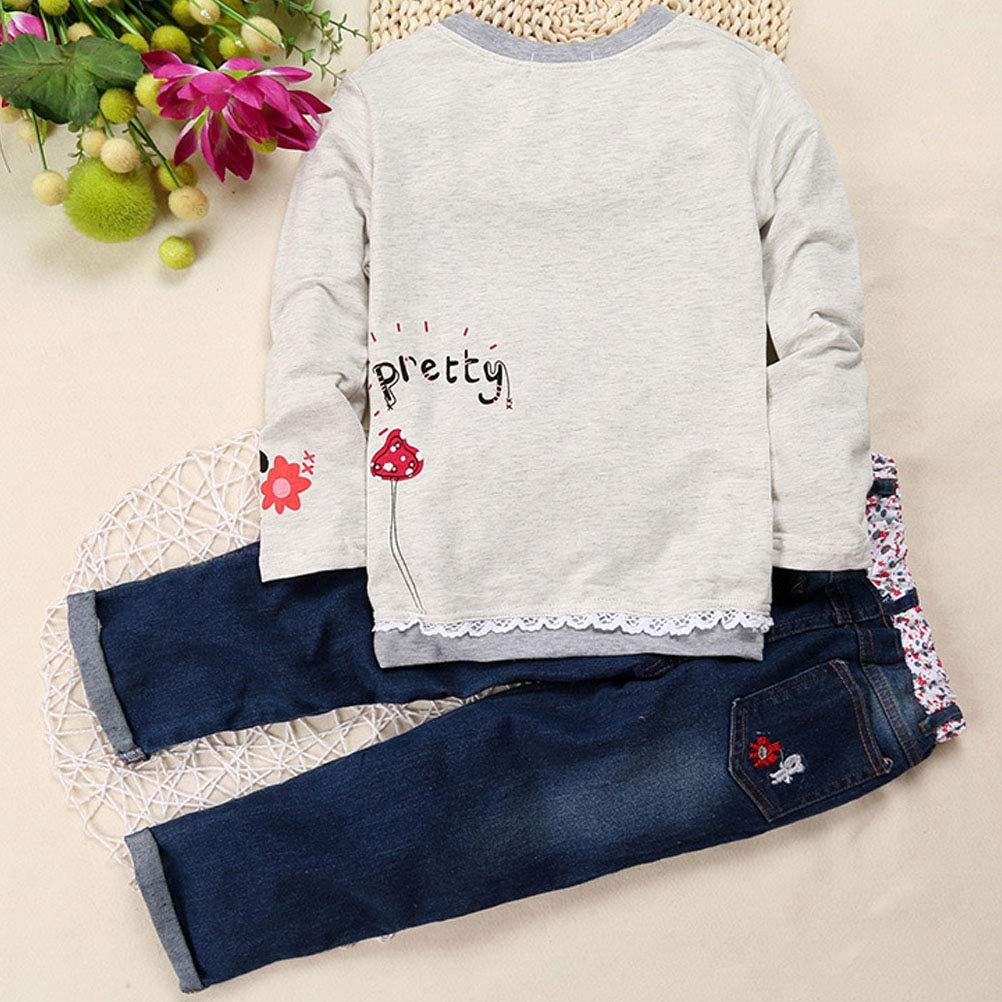 ARAUS M/ädchen Kleidung Set Sweathsirt Jeans Langarm Outfits 1-7 Jahre