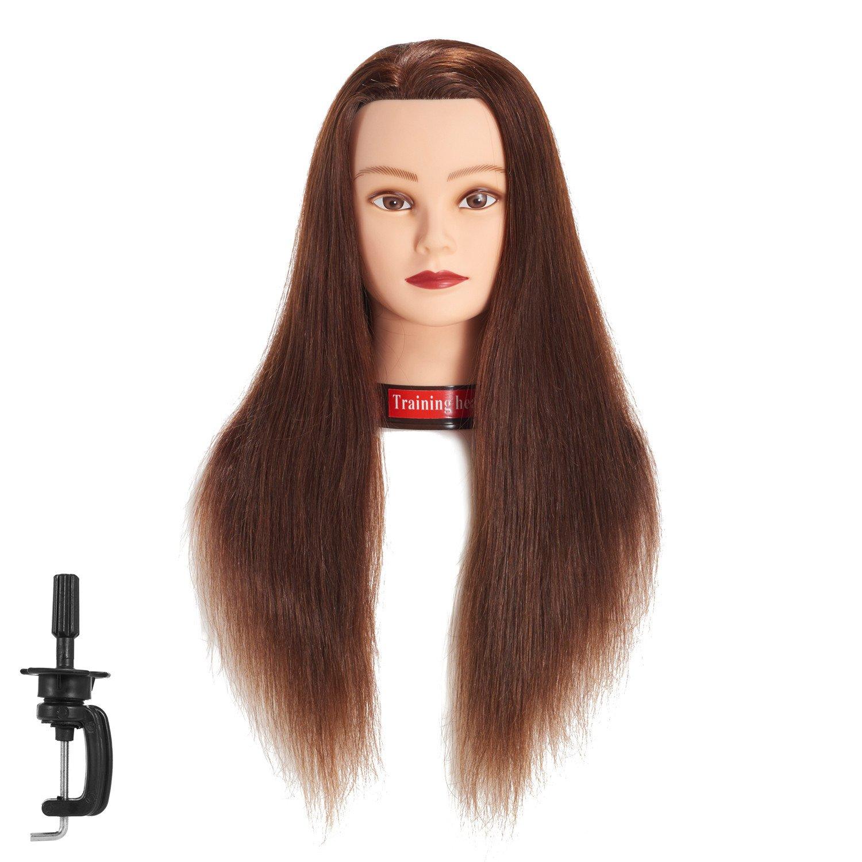 670, 6- 66cm 100% capelli umani testa di manichino formazione testa Cosmetologia manichino Head Doll Head with free clamp (6RA1813W0420H) training head